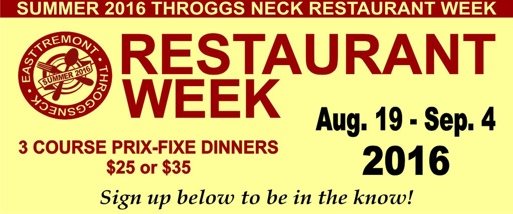 Throggs Neck Resataurant Week Summer 2016